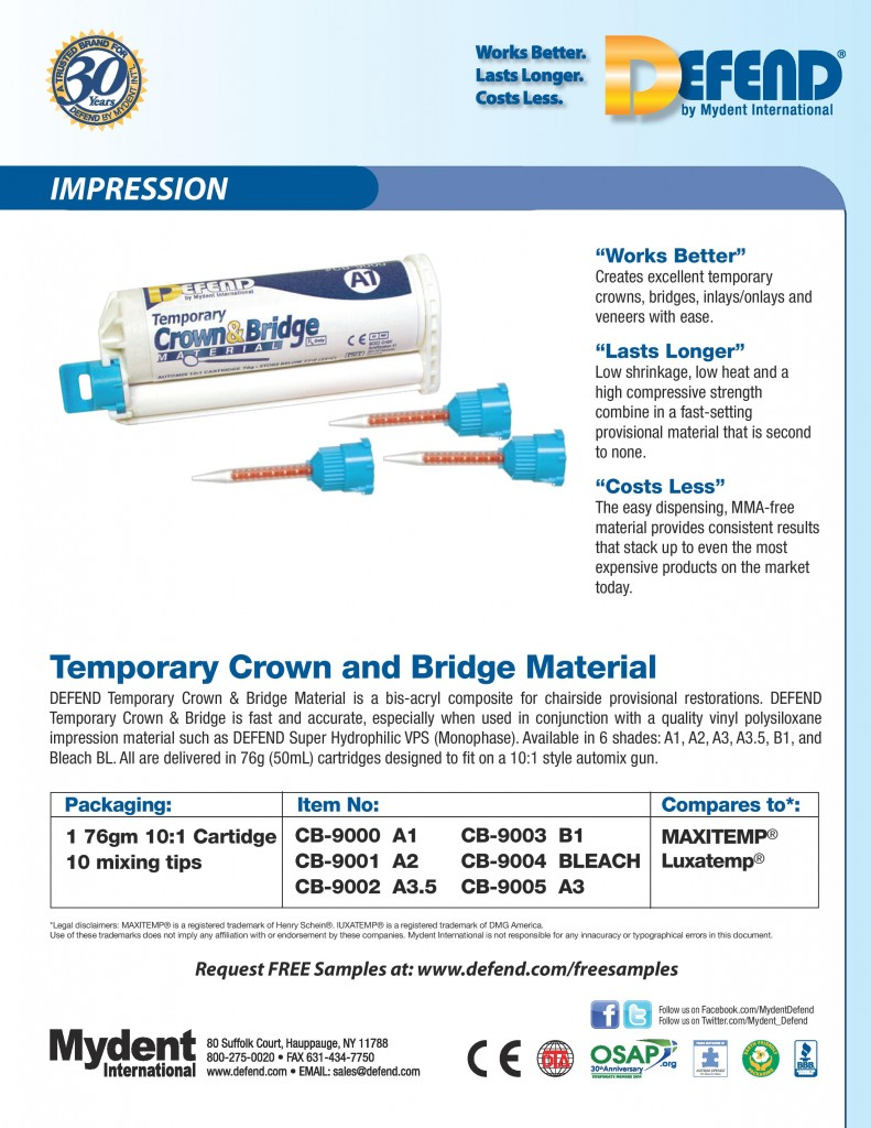 Defend Temp Crown & Bridge Material