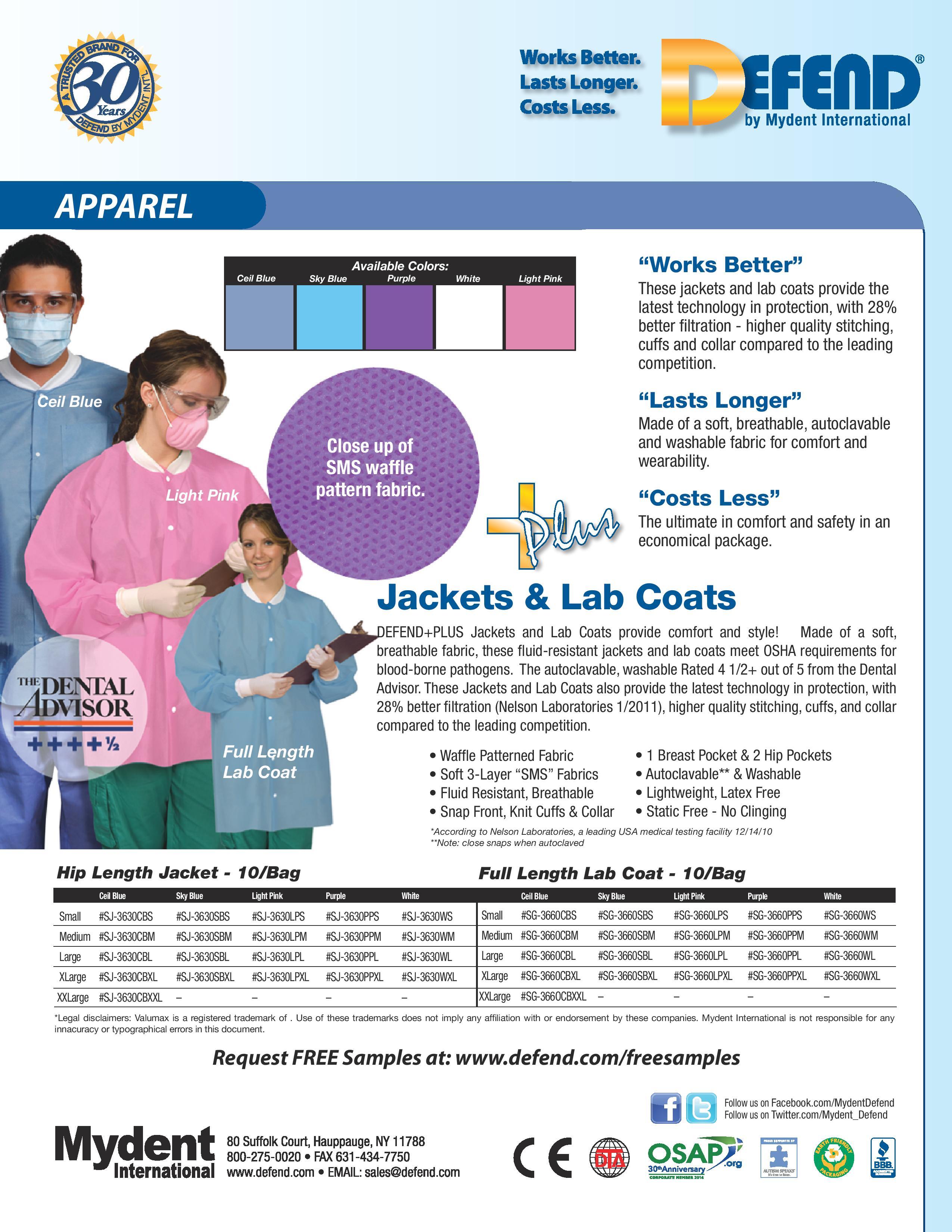 DefendPlus Disp Jackets & Lab Coats
